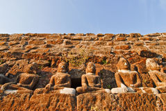 Row of buddha statues. Row of stone buddha  statues at a temple in Mrauk U, Myanmar (Burma Stock Image