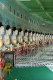 Row of Buddha statues. Temple with many Buddha statues, Sagaing, Hill, Near, Mandalay, Myanmar, Asia Stock Images