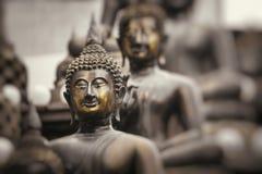 Row of Buddha statues at Ganagarama temple, Colombo, Sri Lanka. Stock Image