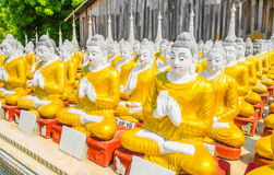 Row of Buddha statues at Myanmar Temple Stock Photography