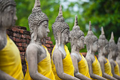 Row of Buddha Status at Wat Yai Chaimongkol Royalty Free Stock Photography