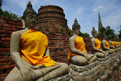 Row buddha. In temple thailand Stock Photo
