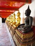 Row of Buddhas statue at Wat Pho , Bangkok. A row of seated Buddhas statue at the temple of Wat Pho in Bangkok, Thailand (Vertical Royalty Free Stock Photos