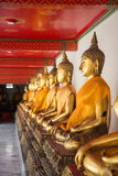 Row of Buddhas at temple in Bangkok Stock Photo