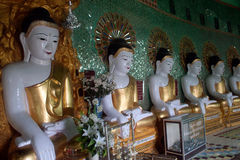 Row of Buddhas in U Min Thonze cave ,Sagaing hill,Myanmar. Royalty Free Stock Image