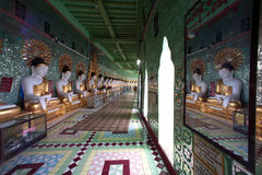 Row of Buddhas in U Min Thonze cave ,Sagaing hill,Myanmar. Royalty Free Stock Photos