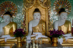Row of Buddhas in U Min Thonze cave ,Sagaing hill,Myanmar. Stock Photography