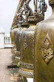 Row of Buddhism bell in temple Stock Photos