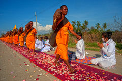 Row of Buddhist hike monks on street. Royalty Free Stock Image