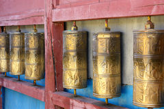 Row of buddhist prayer wheels in Gandan Monastery Royalty Free Stock Images