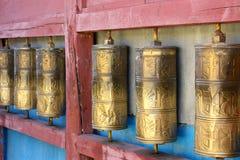 Row of buddhist prayer wheels in Gandan Monastery Royalty Free Stock Images