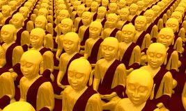 Row of Buddhist statues Royalty Free Stock Photos