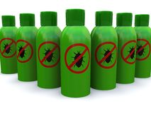 Row of bug spray Stock Images