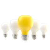 Row of bulbs as leader conception Royalty Free Stock Photo