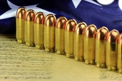 Row of bullets with American flag Stock Photo