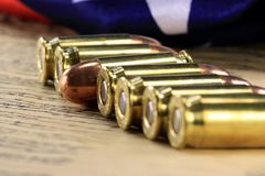 Row of bullets with American flag Stock Image