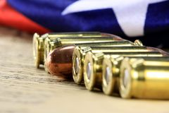 Row of bullets with American flag Stock Photography