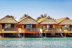 Row of bungalows near the water in El Gouna, Egypt. Royalty Free Stock Image
