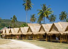 Row of bungalows on the tropical resort. Krabi province, Thailand Royalty Free Stock Photography