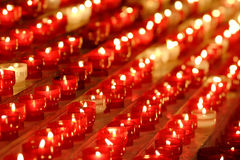Row of burning candles Royalty Free Stock Photography