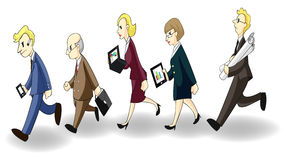 Row of busy businessmen and women Royalty Free Stock Photos