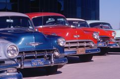A row of ca. 1950s automobiles in mint condition, Hollywood, California Stock Photography
