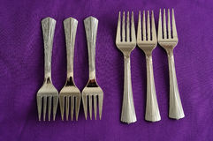 A row of cake forks Royalty Free Stock Image