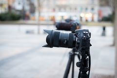 Row of cameras on tripods Royalty Free Stock Images