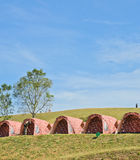 Row of camping tents Stock Photography