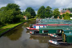 Row Of Canal Boats Stock Photo