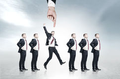 Row of candidates, hand, gray, blur Royalty Free Stock Photos