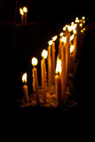 Row of candle. In night at the buddhism temple royalty free stock photos