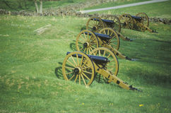 Row of cannons at Gettysburg, PA National Park Stock Image