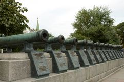 Row of Cannons Inside the Moscow Kremlin Stock Photos
