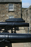 Row of cannons at Stirling Castle. In Scotland stock image
