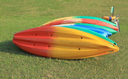 Row of canoes for rent Stock Photos
