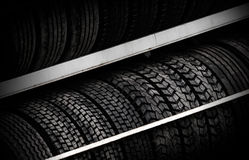 Row of car tires Stock Photos