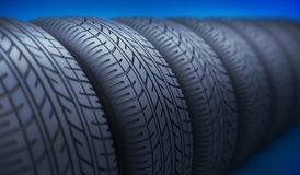 Row car wheel and tire. 3d illustration Stock Photography