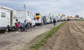 Row of Caravans at Paris Roubaix Cycling Race Stock Images