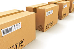 Row of cardboard boxes Royalty Free Stock Images