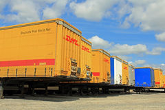 Row of Cargo Containers at Storage Area Stock Photo