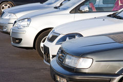 Row of cars. Front view Royalty Free Stock Photo