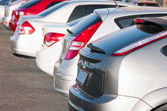 Row of cars. Back view Stock Photography
