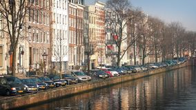 Row Of Cars By The Canal stock footage