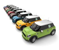 A row of cars concept. 3D render image representing a row of cars with new driver sign Stock Photos