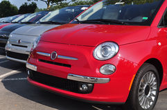 Row of Cars in Dealership. Row of Fiat 500's in a new dealership lot Royalty Free Stock Photo
