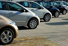 Row of cars displayed for sale. Row of six cars displayed for sale Royalty Free Stock Photos