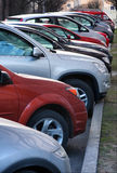 Row of cars parking. In the city Royalty Free Stock Photo