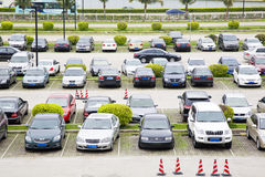 Row of cars on parking lot royalty free stock images