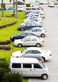 Row of cars on parking lot Stock Image
